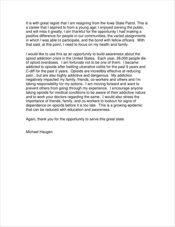 6+ Resignation Letter with Regret Samples and Templates - PDF, Word