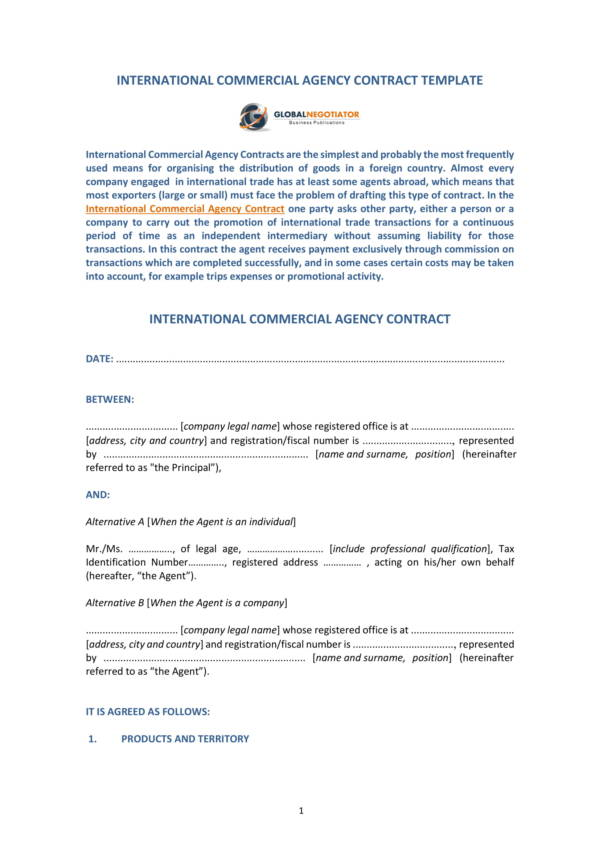 9+ Agent Contract Samples and Templates \u2013 PDF, Word Sample Templates - agent contract template