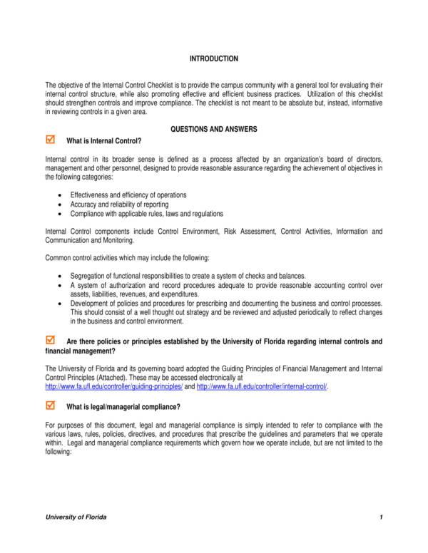 9+ Control Checklist Samples  Templates \u2013 PDF, Word Sample Templates