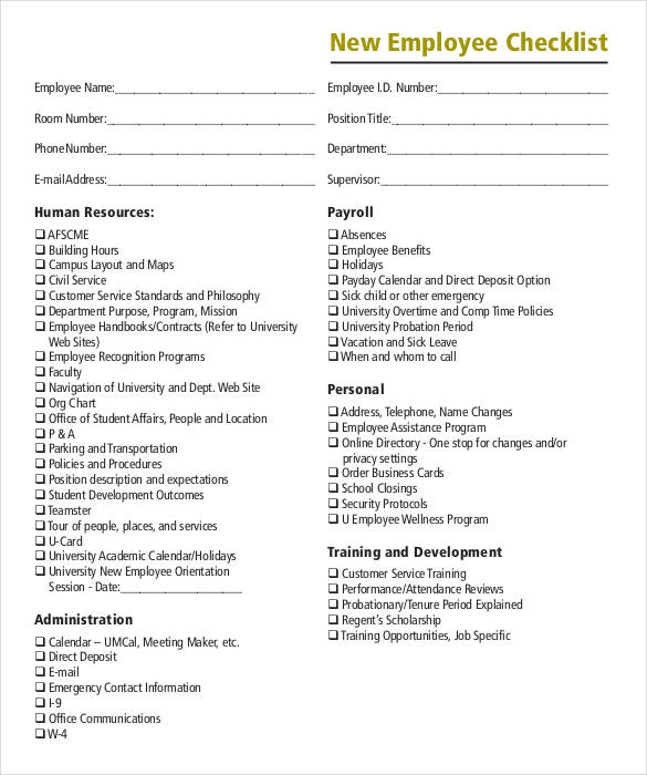 8+ Onboarding Checklist Samples and Templates \u2013 PDF, Word, Excel