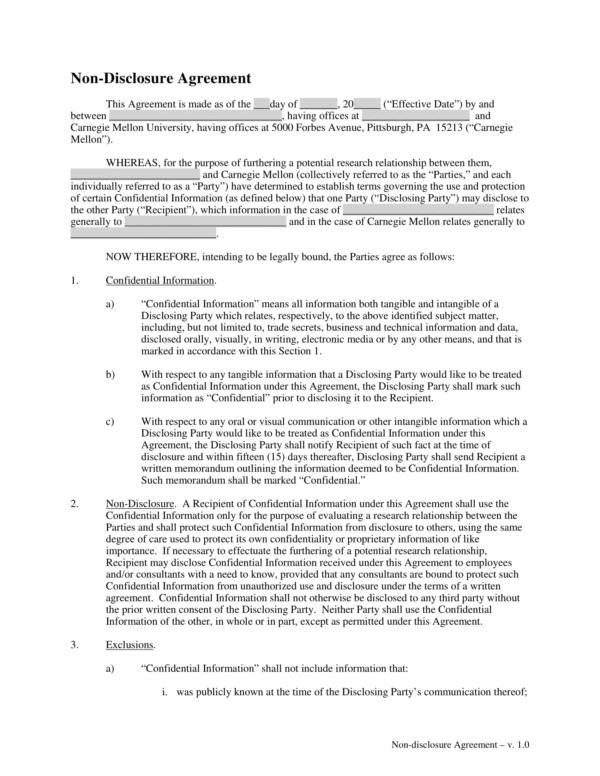 9+ Nondisclosure Agreement Samples and Examples \u2013 PDF, Word Sample