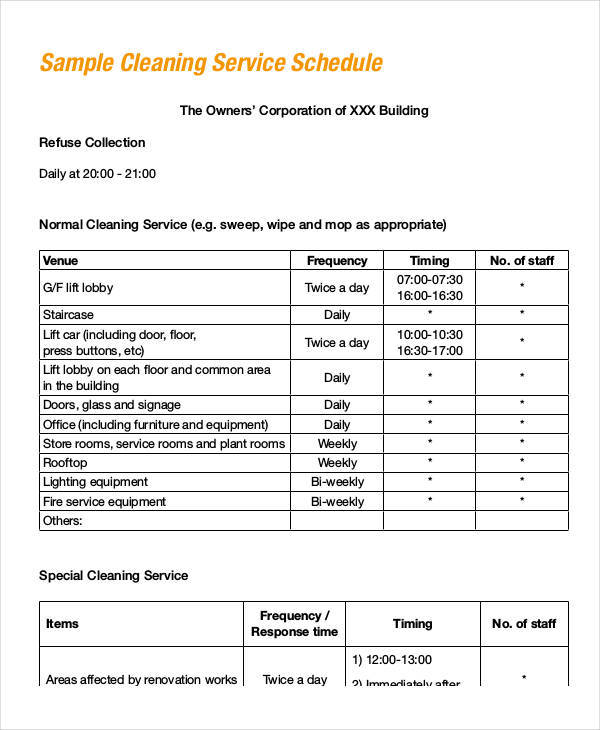 9+ Office Maintenance Schedule Samples  Templates - PDF, Word, Excel