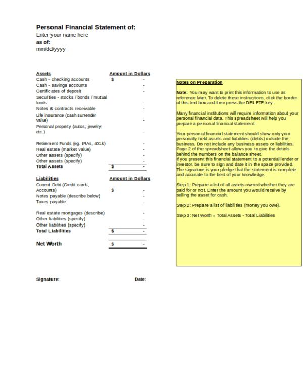 financial worksheet excel