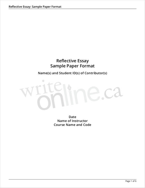 apa cover page for essay