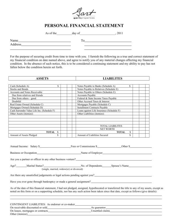 personal financial statement form - Romeolandinez - personal financial statement form