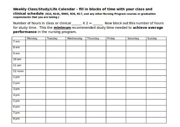 64+ Schedule Samples  Templates \u2013 PDF, DOC Sample Templates - weekly class schedule template