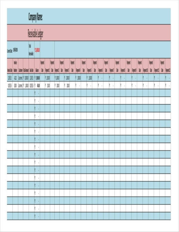 7+ Accounts Receivable Spreadsheet Samples and Templates - Excel, Word