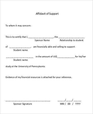 10+ Affidavit of Support Samples and Templates \u2013 PDF, Word Sample