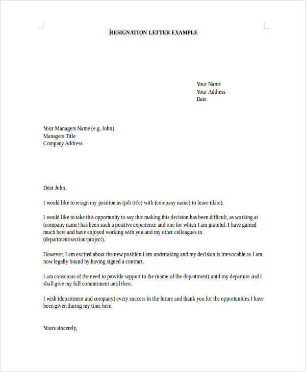 download sample resignation letters
