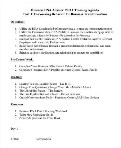 12+ Training Agenda Samples and Templates \u2013 PDF, Word Sample Templates