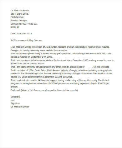 Letter Affidavit Template 11 example of affidavit letter f