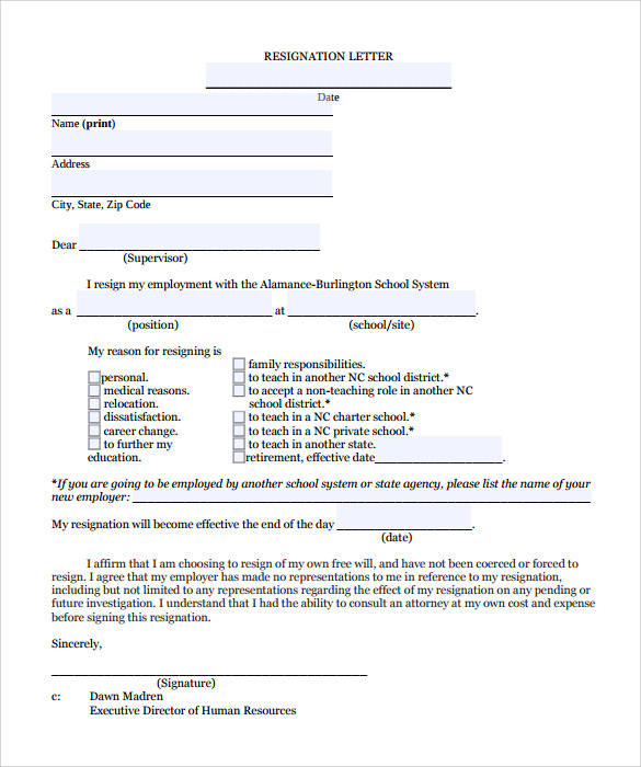 11+ Teacher Resignation Letter Samples and Templates \u2013 PDF, Word
