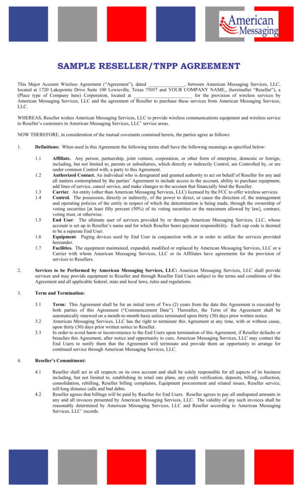 21+ Reseller Agreement Samples and Templates - PDF, Word