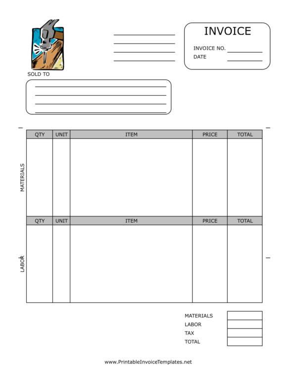 11+ Repair Invoice Templates - PDF, Word, Excel - home repair invoice