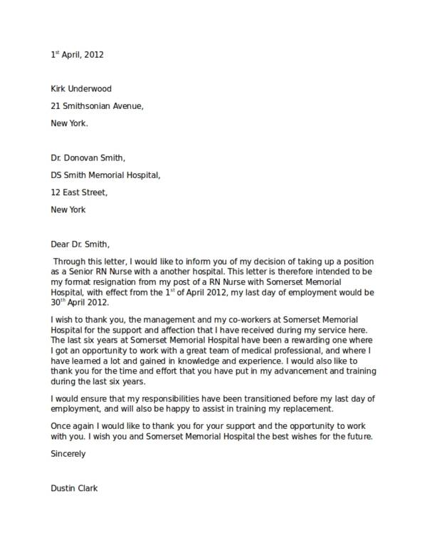 11+ Hospital Resignation Letter Samples and Templates - PDF, Word