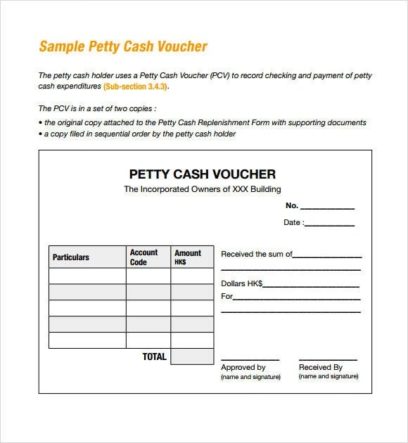 14+ Petty Cash Receipt Samples  Templates \u2013 PDF, Word, Excel