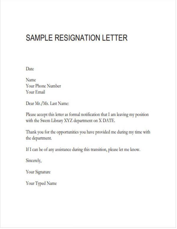 simple resignation letter pdf