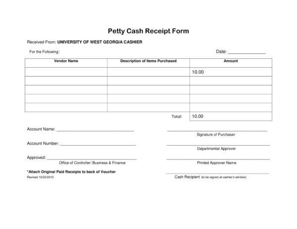 14+ Petty Cash Receipt Samples  Templates - PDF, Word, Excel