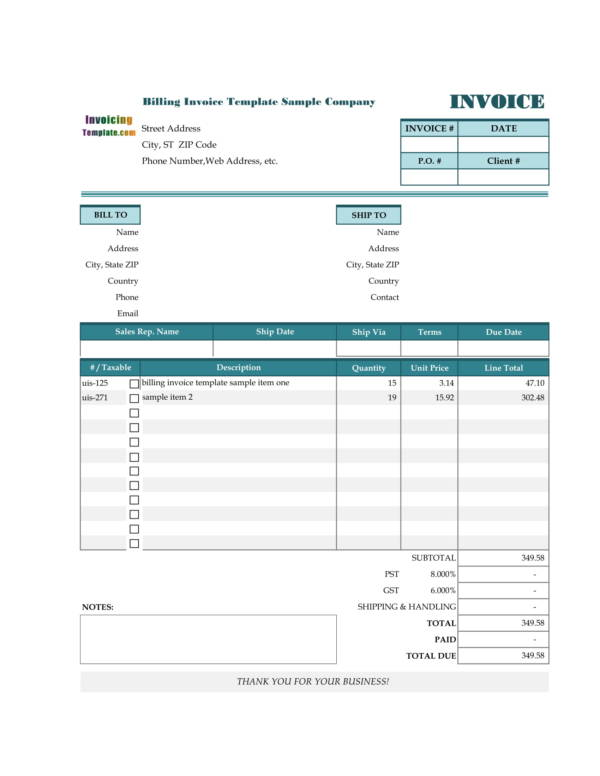 10+ Gym Invoice Samples  Templates - PDF, Excel