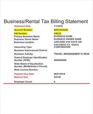 10+ Rental Billing Statement Templates - PDF, Word, Excel