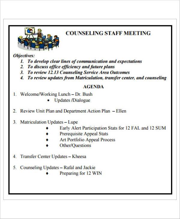 format agenda meeting