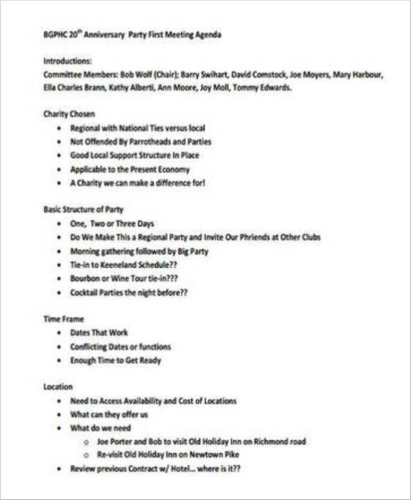 17+ Party Agenda Samples and Templates - PDF
