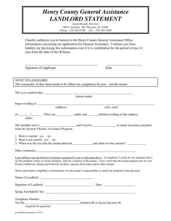 18+ Landlord Statement Templates - PDF