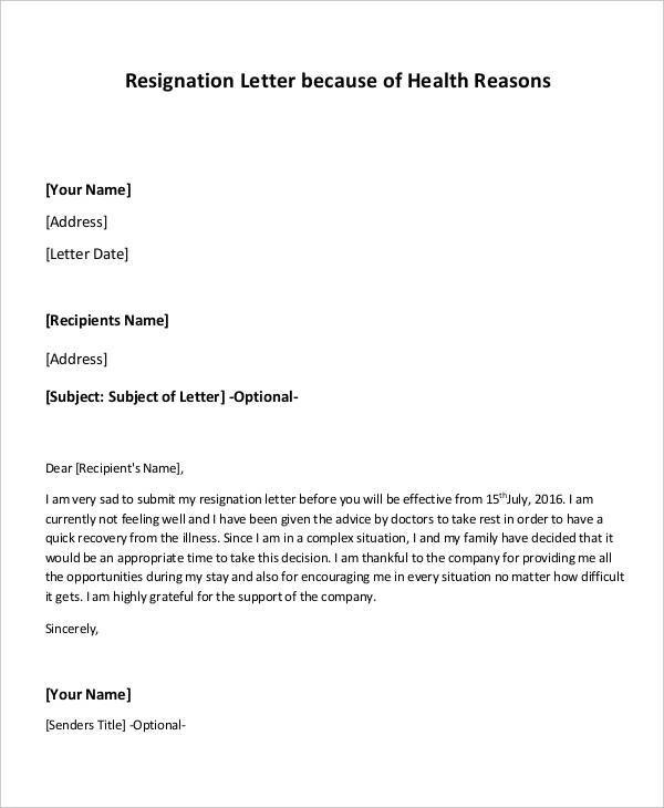 9+ Health Resignation Letter Samples and Templates - PDF, Word