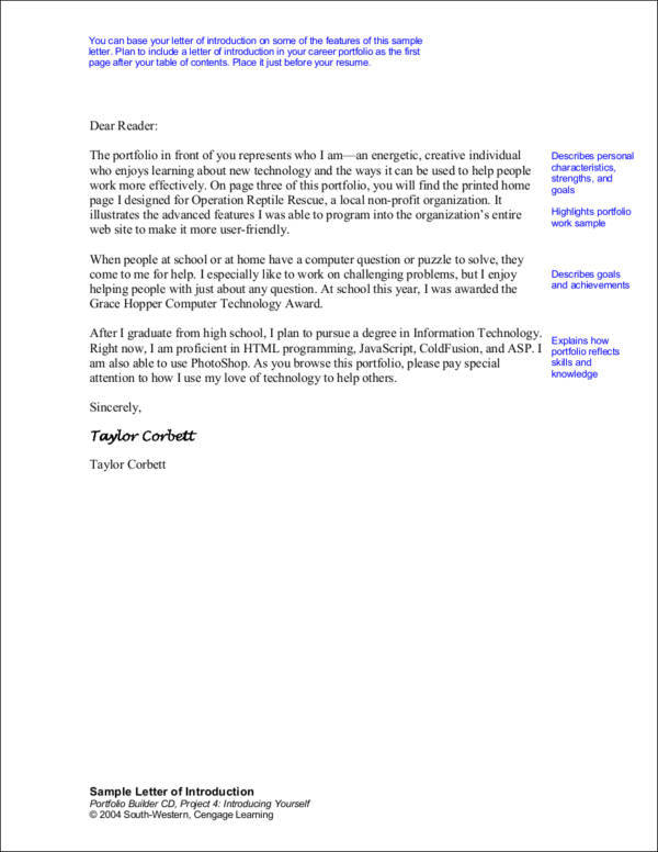 sample letter of introduction for employment