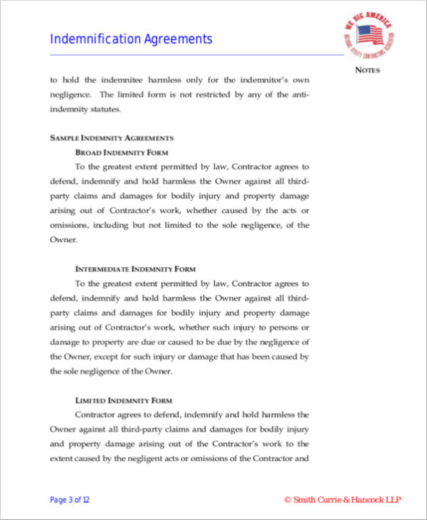 Sample Indemnity Agreement Images - Agreement Letter Format - indemnity form template