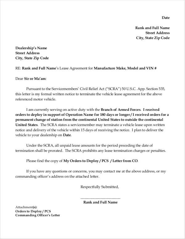 termination lease letter