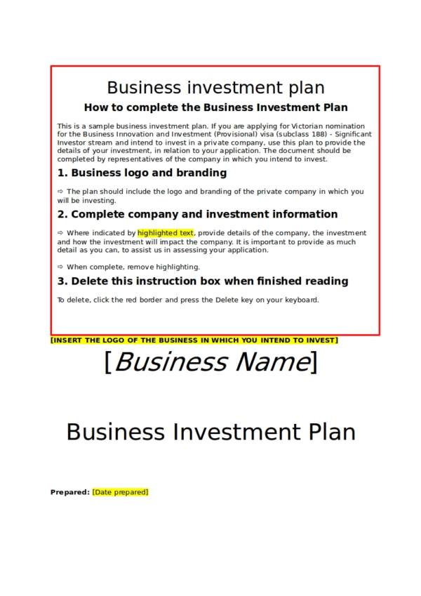 11+ Business Investment Proposal Samples amp; Templates - PDF, Word