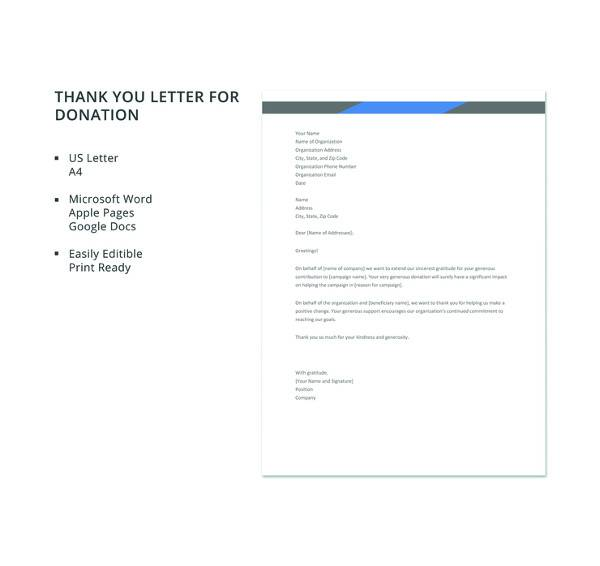 9+ Thank You Letters for Donation Samples \u2013 PDF, DOC, Apple Pages - thank you letter for donations