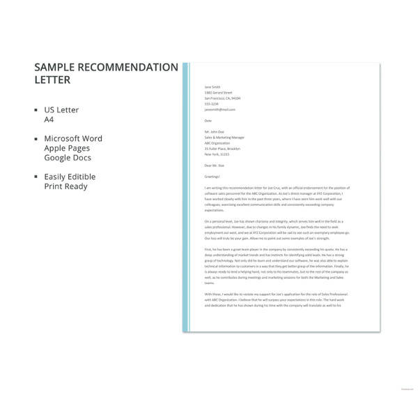27+ Letter of Recommendation In Word Samples Sample Templates