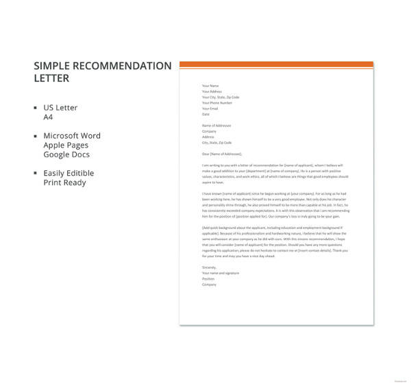 27+ Letter of Recommendation In Word Samples Sample Templates - microsoft letter of recommendation template