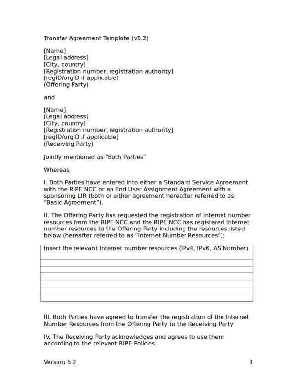 19+ Agreement of Transfer Templates - PDF, Word