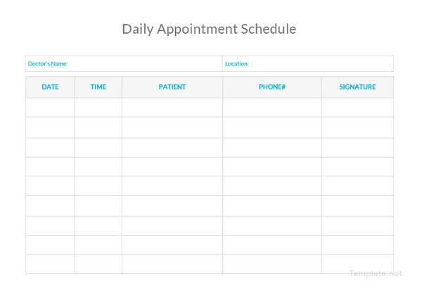 daily schedule template free day wise download appointment