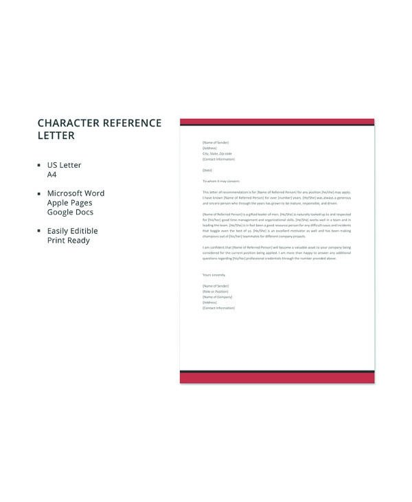 12+ Sample Character Reference Letters - PDF, Word Pages, Google Docs