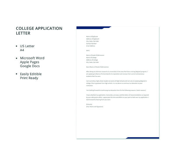 10+ Sample College Application Letters - PDF, Word, Apple Pages