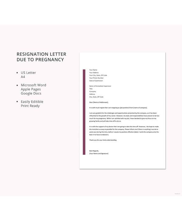 5+ Sample Pregnancy Resignation Letters - DOC, PDF, Apple Pages