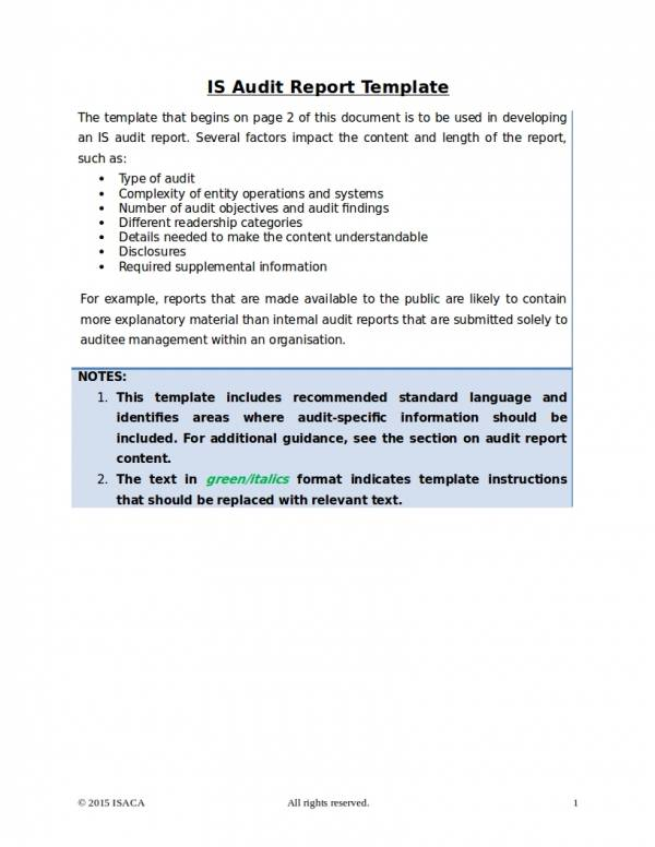10+ Information Technology Audit Report Samples  Templates - PDF, Word