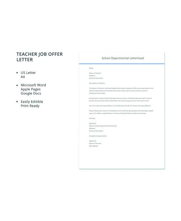 16+ Sample Job Offer Letters \u2013 PDF, Word, Apple Pages, Google Docs