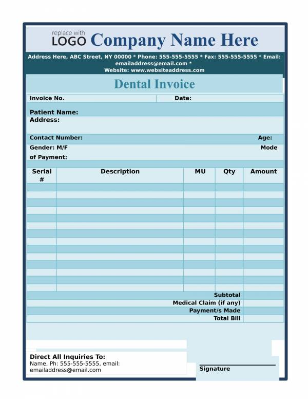 dental invoice template