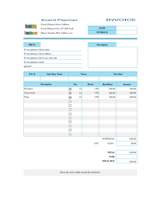 10+ Event Planning Invoice Samples  Templates - PDF