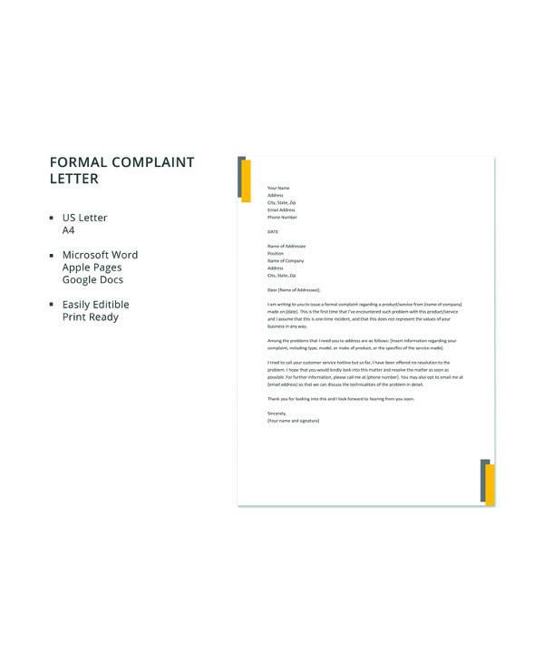 9+ Sample Formal Complaint Letters \u2013 PDF, Word, Apple Pages, Google - complaint letter template word