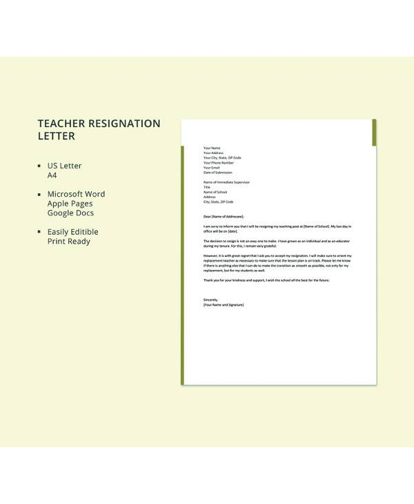 8+ Sample Teacher Resignation Letters - PDF, Word, Apple Pages