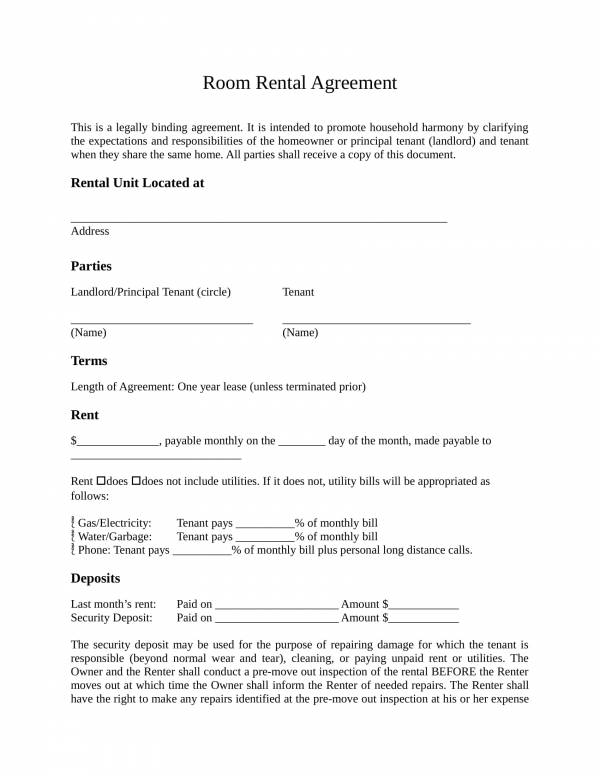10+ Sample Room Rental Agreement Templates - PDF, Word