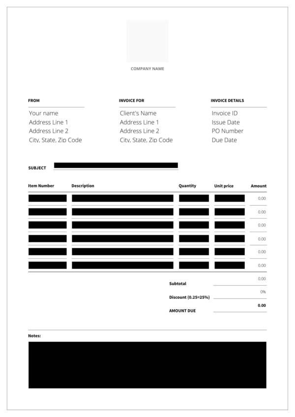event planning invoice