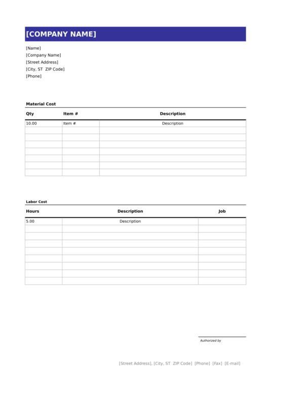 12+ Handyman Invoice Templates \u2013 PDF, Word, Excel Sample Templates - Handyman Invoice Template