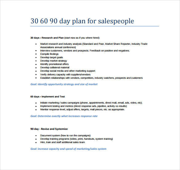 17+ 30-60-90 Day Action Plan Templates - PDF, Word